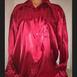 Vintage Liquid Silky red Secretary Xmas Blouse Top
